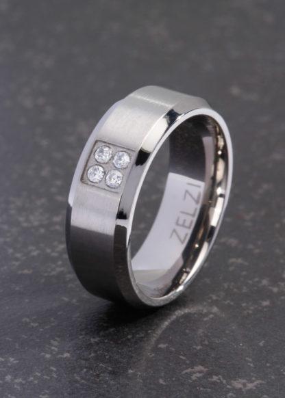Achates titanium ring met briljant
