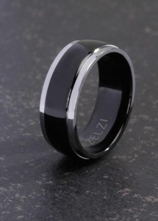 Zwarte titanium ring Leander